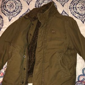 Abercrombie and Fitch army green jacket with fur